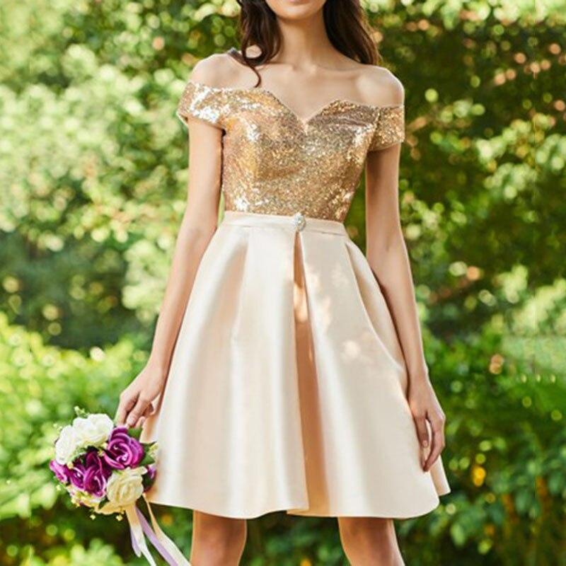 Nouveauté pas cher genou longueur robes De demoiselle d'honneur 2018 or pailleté a-ligne Vestido De Festa De Casamen formelle fête robes De bal