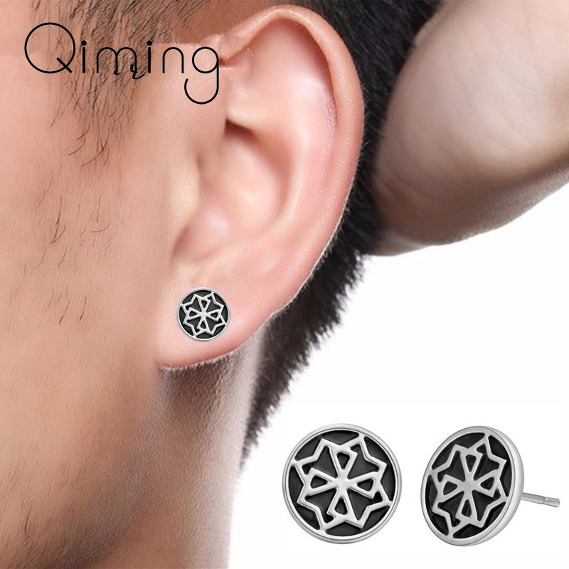 2020 Round Black Earrings Women Punk Gothic Jewelry fashion Valkyrie Viking Statement Stud Men Earrings Male Gift