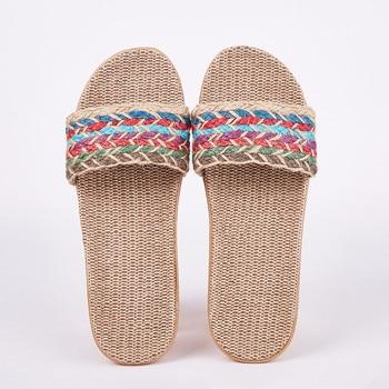 Women Flax Slippers Sandal Summer Comfortable Non-slip Ladies Cross-tied Casual Beach Shoe