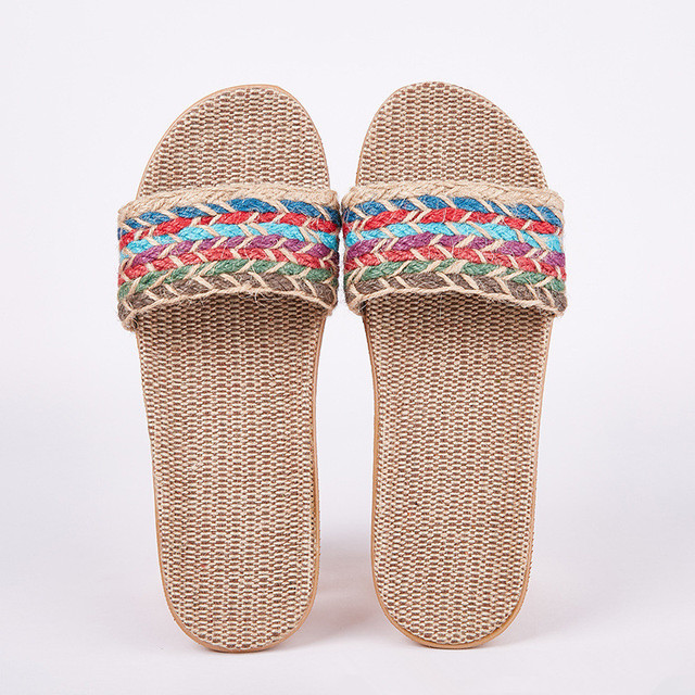Suihyung ผ้าลินินผู้หญิงรองเท้าแตะรองเท้าแตะฤดูร้อนรองเท้าแตะสบายลื่นบ้านผู้หญิง Flip Flop Cross - tied รองเท้าในร่มแบบสบายๆ multicolor