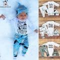 Одежда для Новорожденных детские Наборы С Длинным Рукавом Письмо Печати Ребенка Ползунки + Брюки + Шляпы 3 шт. Детские Одежда Для Девочек Весна Новорожденного Костюм