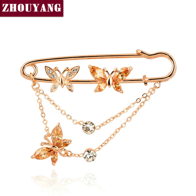 ZHOUYANG ZYX015 Three Butterflies Crystal Brooches Champagne Rose Gold Color Jewelry Austrian Crystal Wholesale