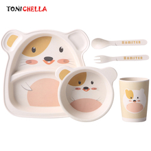 5Pcs/Set Children Bamboo Fiber Tableware Cute Cartoon Baby Feeding Plate Bowl Cup Spoon Fork Dinnerware Food Container CL5534