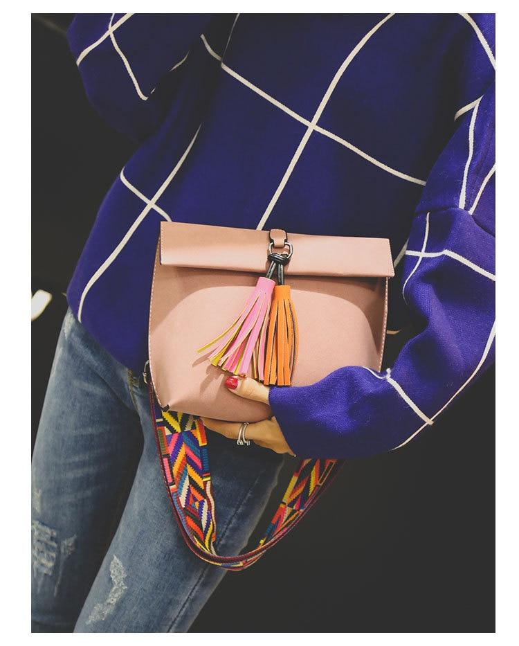 Miyahouse Women Scrub Leather Design Crossbody Bag Girls With Tassel  Colorful Strap Shoulder Bag Female Small Flap Handbag 7997020970d35