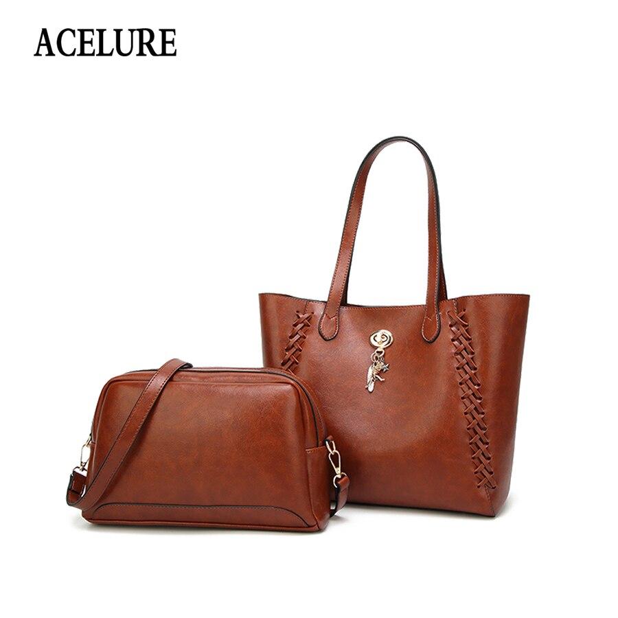 ACELURE Fashion Vintage Women Handbags PU Leather Women Shopping Shoulder Bag Business Women Crossbody Tote Bags Female Designer