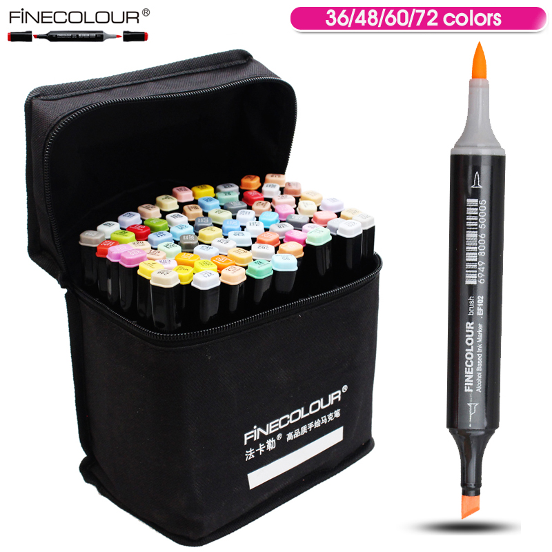 ФОТО FINECOLOUR 36 48 60 72 Colors Artist Double Headed Manga Brush Copic Markers Alcohol Based Sketch Paint Art Marker Pen Set