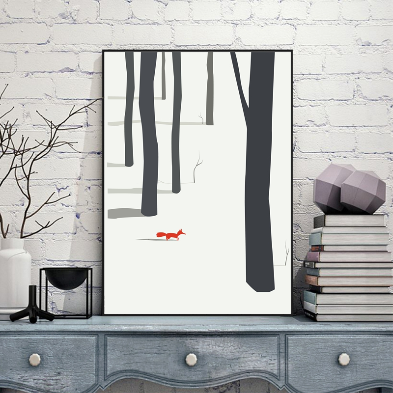 Nordic Landscape Tree With Red Fox Canvas Painting Winter Poster Print Picture Aisle Home Wall Art Decoration Custom