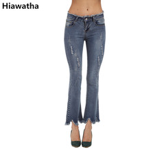 Hiawatha New Women's Vintage Ripped Flare Jeans Large Size Summer Tassel Denim Pants Women SkinnyTrousers JST017
