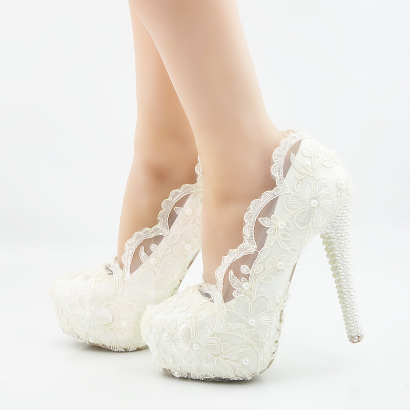 Sweet White Flowers Lace Platform High Heels Rhinestone