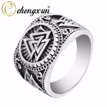 CHENGXUN Valknut Viking Round Big Width Signet Ring Finger Men Black Silver Fashion Wholesale Vintage Jewelry 15mm(China)