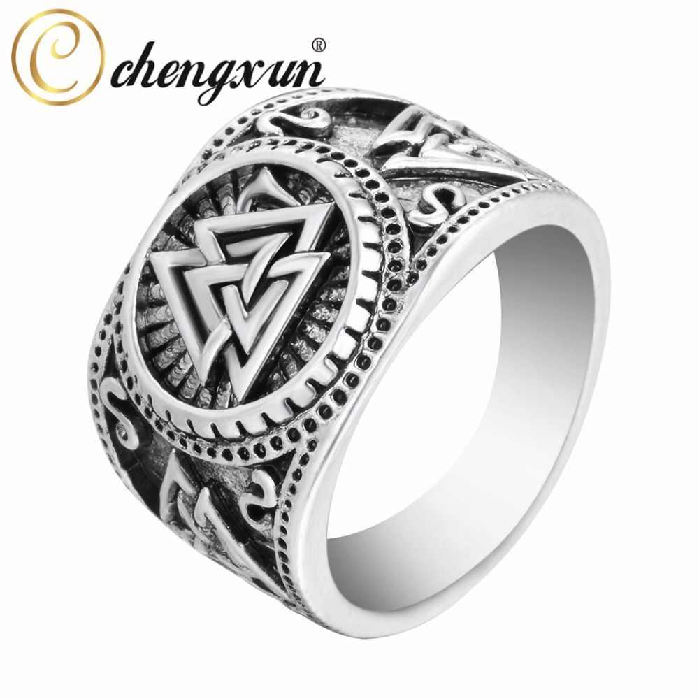 Chengxun Valknut Viking Bulat Besar Lebar Cincin Jari Pria Hitam Silver Fashion Vintage Grosir Perhiasan 15 Mm