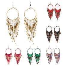 Tassel Long Fringe Dangle Earings Handmade Ear Hook Earring Boho Earing For Women Multicolor Beaded Earrings