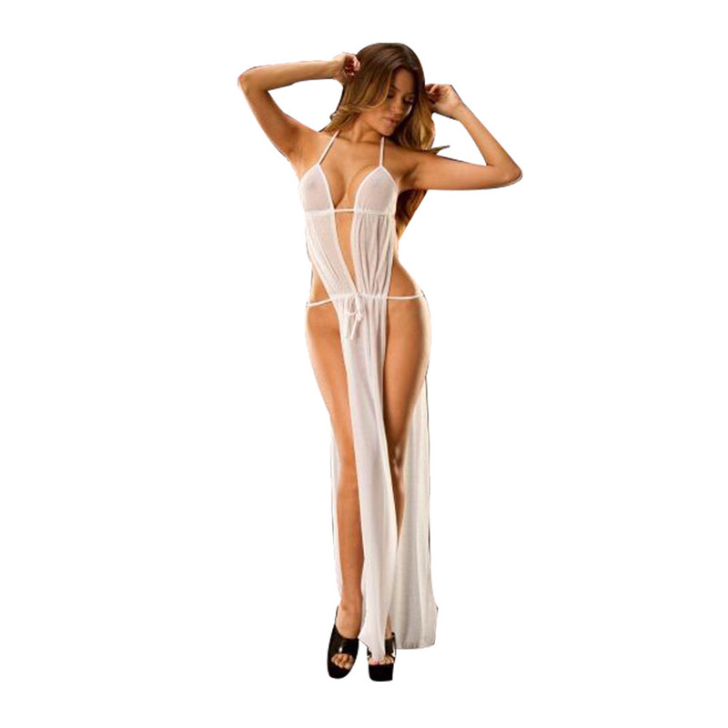 2017 New Hot Exotic Lingerie Womens Sexy See Through Lace Baby Dolls Dress Sexy Costume Side Slit Backless Long Dress Sleepwear