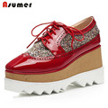 Asumer Top quality genuine leather shoes women lace-up mixed colors flat platform shoes height increasing oxford shoes