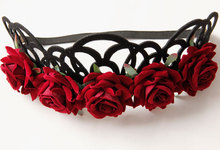 New Fashion Red Rose Flower Headbands for Girl Royal Crown Gothic Headwreath Diadem Punk Headbands Women Party Hair Accessories FD-39