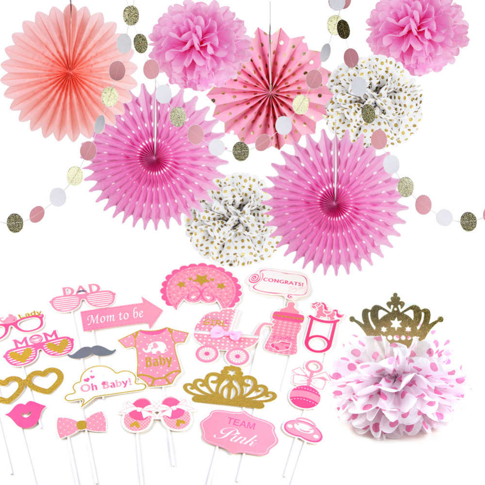 Pink and gold Baby Shower Girl Decorations 11pcs/set Gender Reveal Party Photo Props Circle Garland Paper Fans Princess Party