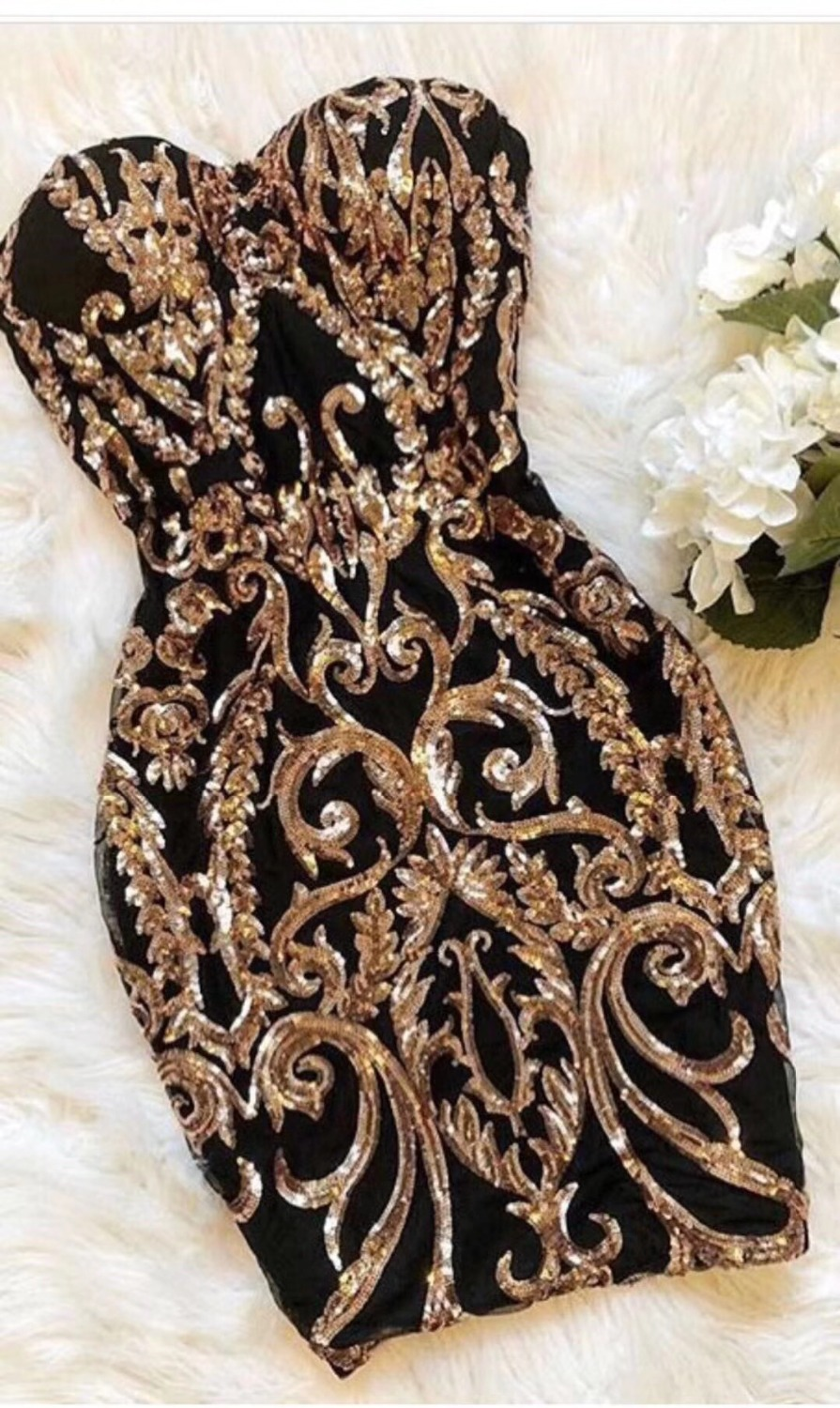 High Quality Black Gold Strapless Mini Bodycon Dress Night Club Party Dress