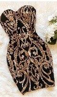 High Quality Black Gold Strapless Mini Bodycon Dress Night Club Party Dress