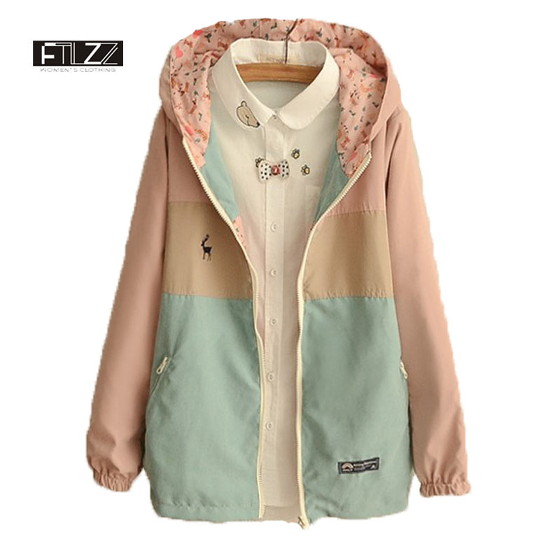 Spring Jacket Womens New 2018 Long Sleeve Hooded Casual Short Coats Ladies Fashaoin Two Sides Wear Patchwork Color Windbreaker