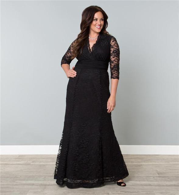 New Style 3/4 Sleeve V Neck Black Lace Plus Size Evening Dresses ...