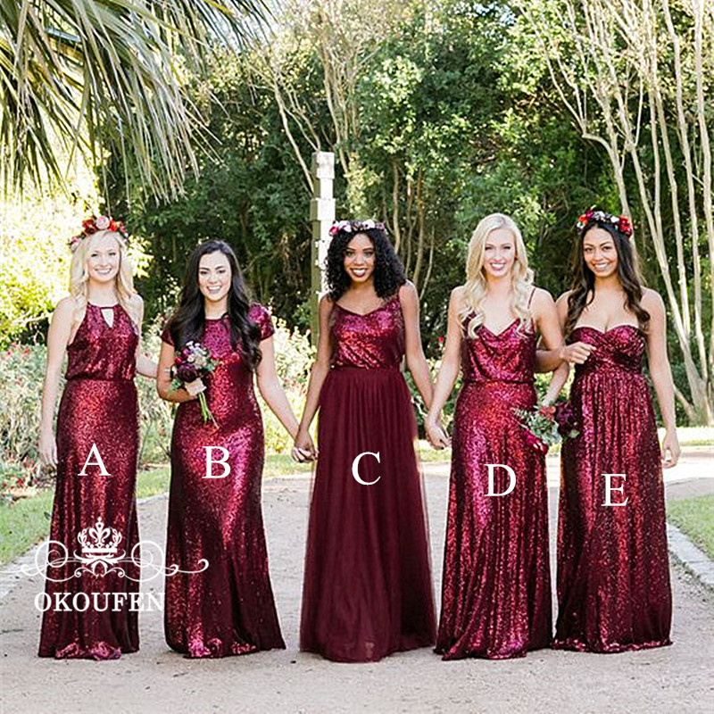 Sparkling Sequined   Bridesmaid     Dresses   For Women Burgundy 5 Styles Sheath Long Maid Of Honor   Dress   Wedding Guest
