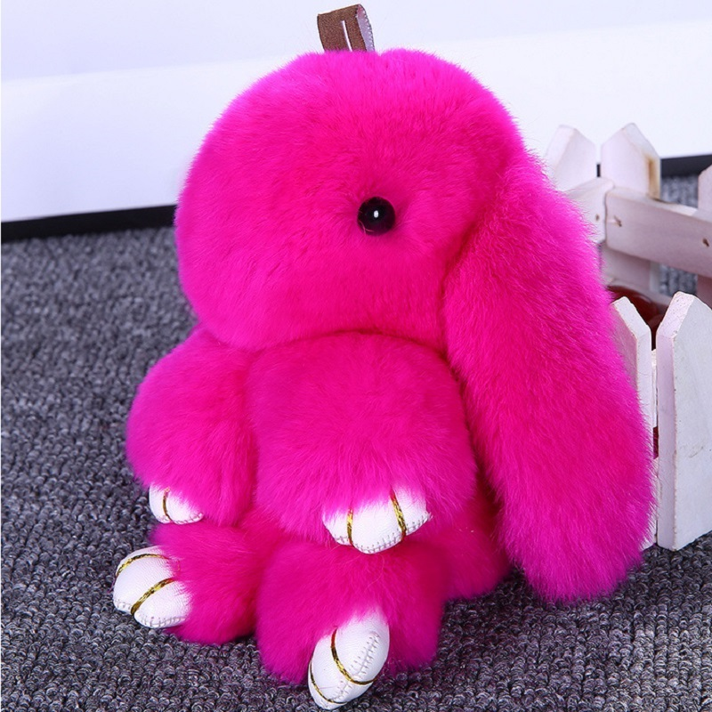Rabbit Keychain Cute Fluffy Bunny Keychain Rex Genuine Rabbit Fur Pompom Key Ring Pom Pom Toy Doll Bag Charm Car Key Holder 13CM