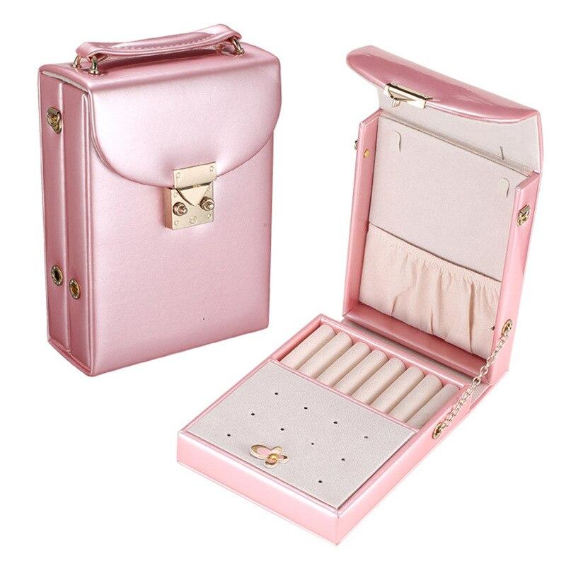 JULYS SONG PU Leather Jewelry Box Women Portable Travel Mini Make