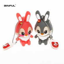 usb flash drive 32GB pendrive 64GB Cartoon lovely rabbit USB 2.0 128GB 16GB 8GB pen memory stick free shipping
