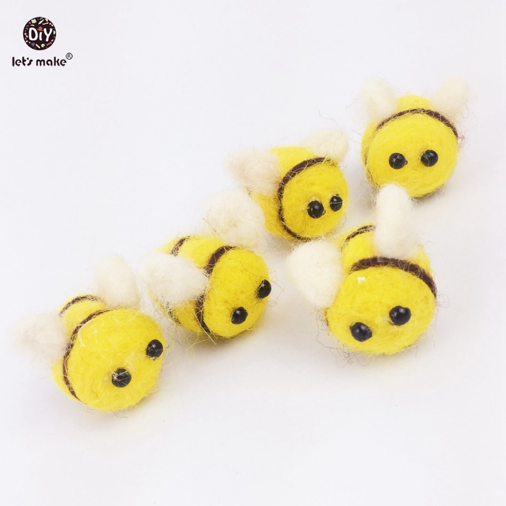 Let's Make Baby Teether Nursing Material 20PC 2.5cm Wool Felt Ball Bee DIY Baby Rattle Toys Charm Pendant Necklace Rattle