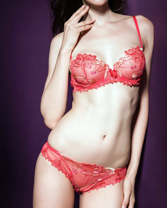 Embroidery thin pink and black bra 3