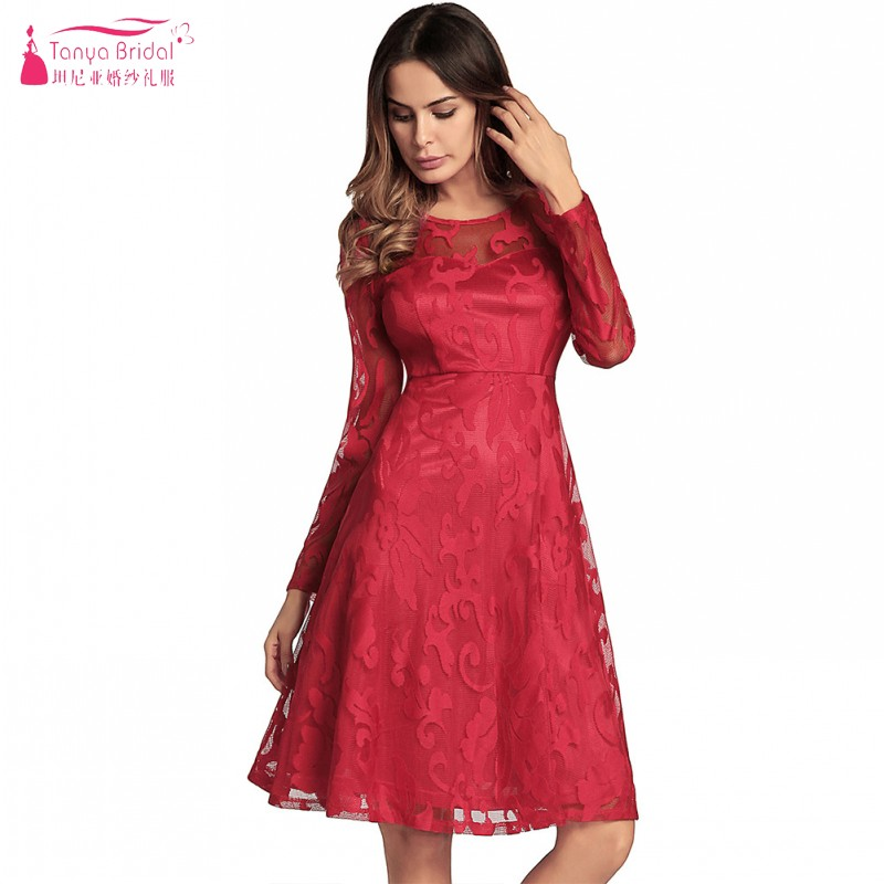 A Line Long Sleeves Lace Knee Length   Cocktail     Dresses   Simple Style Cheap In Stock High Quality Party   Dress   Homecoming DQG525