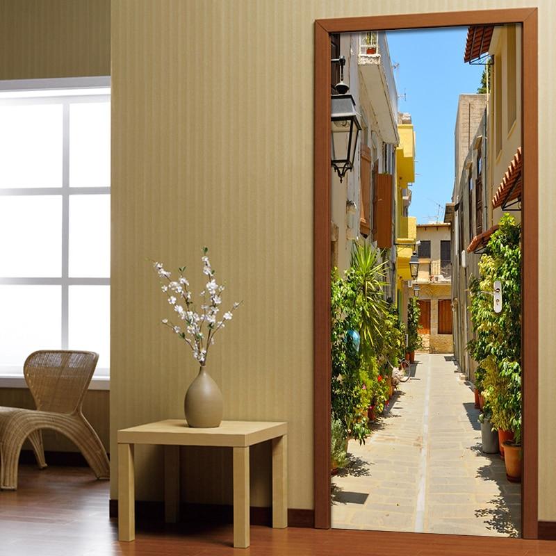 3D Wall Door Sticker European Street Wallpaper Living Room Restaurant Vinyl Door Mural Self-Adhesive Waterproof Home Decor Paste