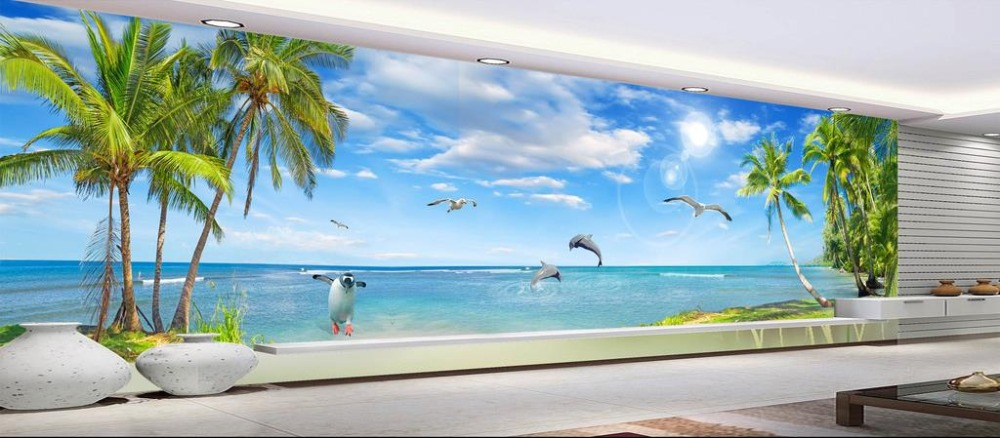 Modern 3D Painting Wallpaper sea view Wall Murals For Bedroom Custom Photo Wallpaper 3D Living room Decoration custom photo 3d ceiling murals wall paper blue sky rose flower dove room decor painting 3d wall murals wallpaper for walls 3 d