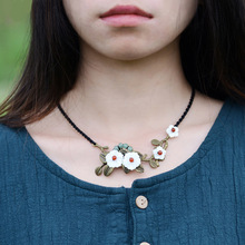 New chains necklace women vintage choker fashion jewelry choker bronze flower pendant torque accessories gift