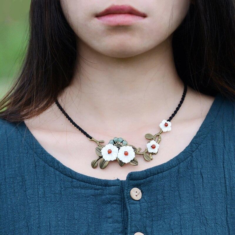 2016 New chains necklace font b women b font vintage choker fashion jewelry choker bronze flower