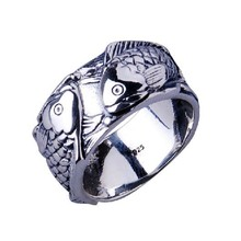 Handmade 925 Silver Double Fish Ring vintage thai silver fish ring pure silver women ring jewelry gift
