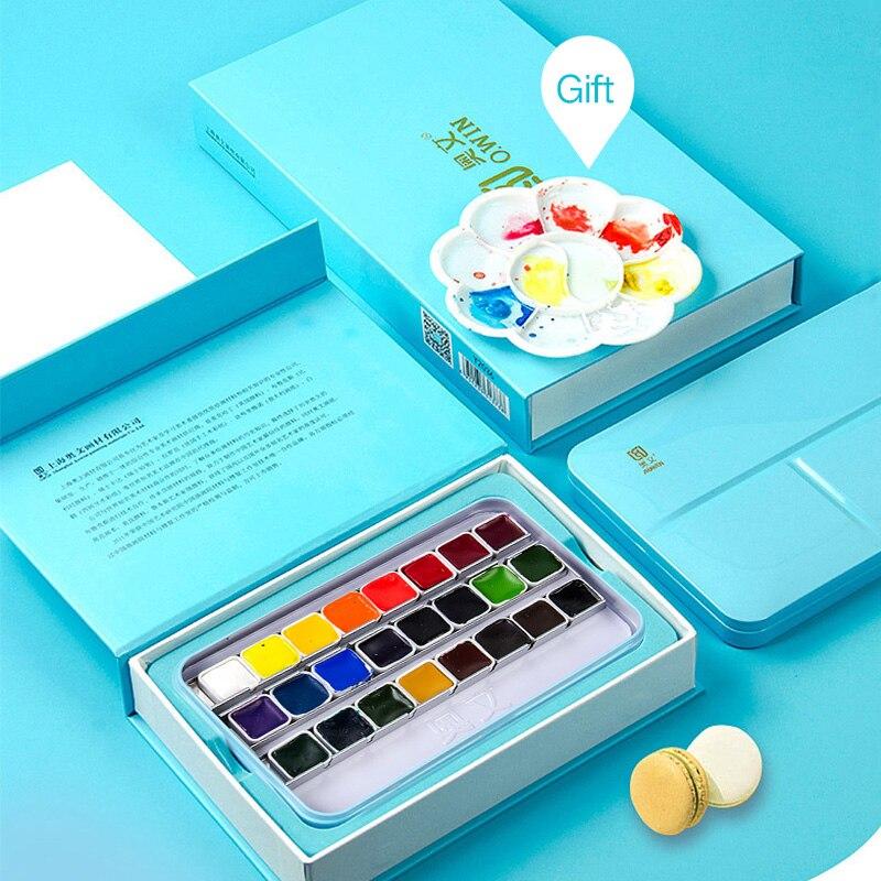 24/36 couleurs Portable aquarelle peinture solide couleur main-peinture ensemble cadeau fer boîte étudiant aquarelle peinture Pigment pour artiste