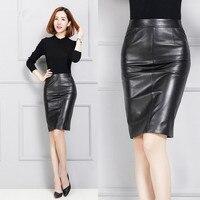 Women Sheepskin Slim Hip over the knee Genuine Leather Skirt K128