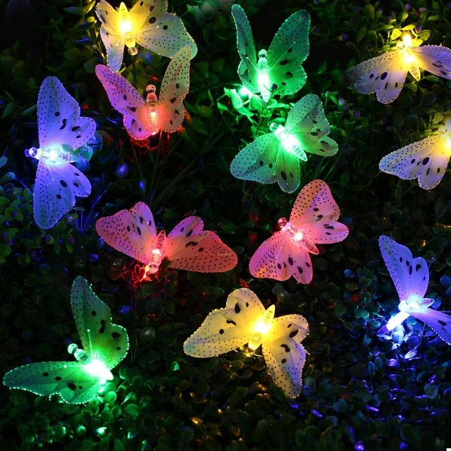 Christmas Led Outdoor Solar String Lights 12 LEDs Multi Color Fiber Optic Butterfly Light Decorative Lighting for Home Garden