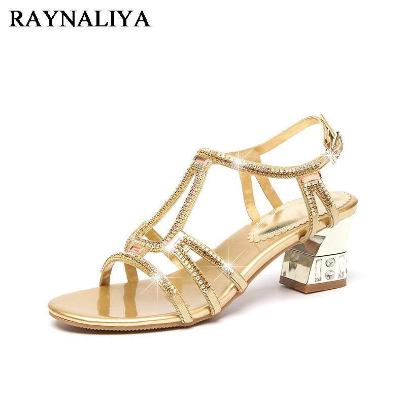 Для женщин корейский стиль Сандалии со стразами летние сандалии-гладиаторы ботинки на среднем каблуке с открытым носком черного и золотого...