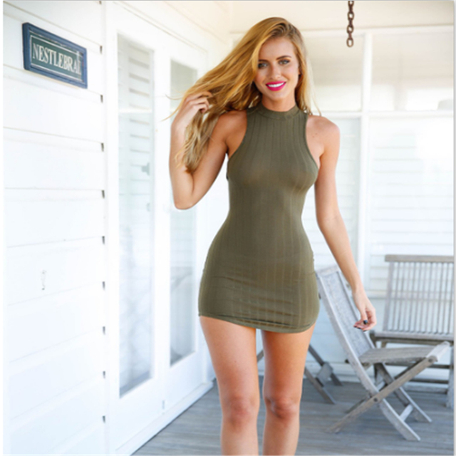 Womens Olive Green Bodycon Dress Mini Club Party Dr260