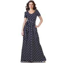 Short sleeve polka dot maxi  vintage tunic belt waist fit and flare dress