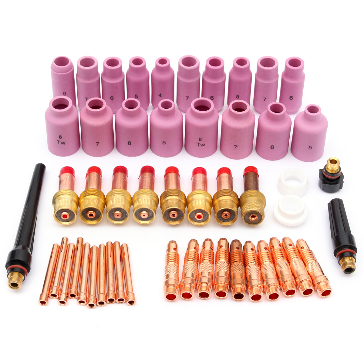 51pcs/set Durable TIG Welding Torch Accessories Consumables FIT WP 17 18 26 Series Gas Lens Nozzles Welding Accessories