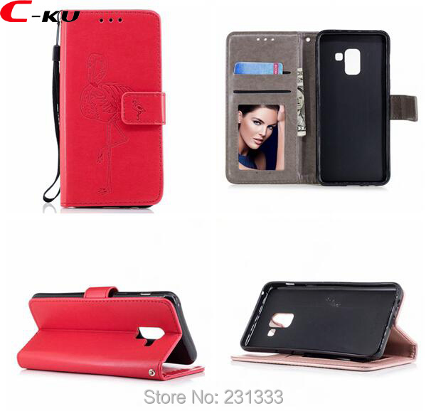 C-ku For Samsung Galaxy A8 2018 A5 2017 J3 J5 A3 S9 S8 PLUS S7 EDGE J330 J510 Wallet Leather Case Stand Flamingos Skin 100pcs