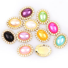 10 Stücke 20x25mm Innen 13x18mm Oval Perle Button mit Messing Gold Metallschale Strass Cabochon Miniatur-einstellungs DIY Schmuck Charms(China)