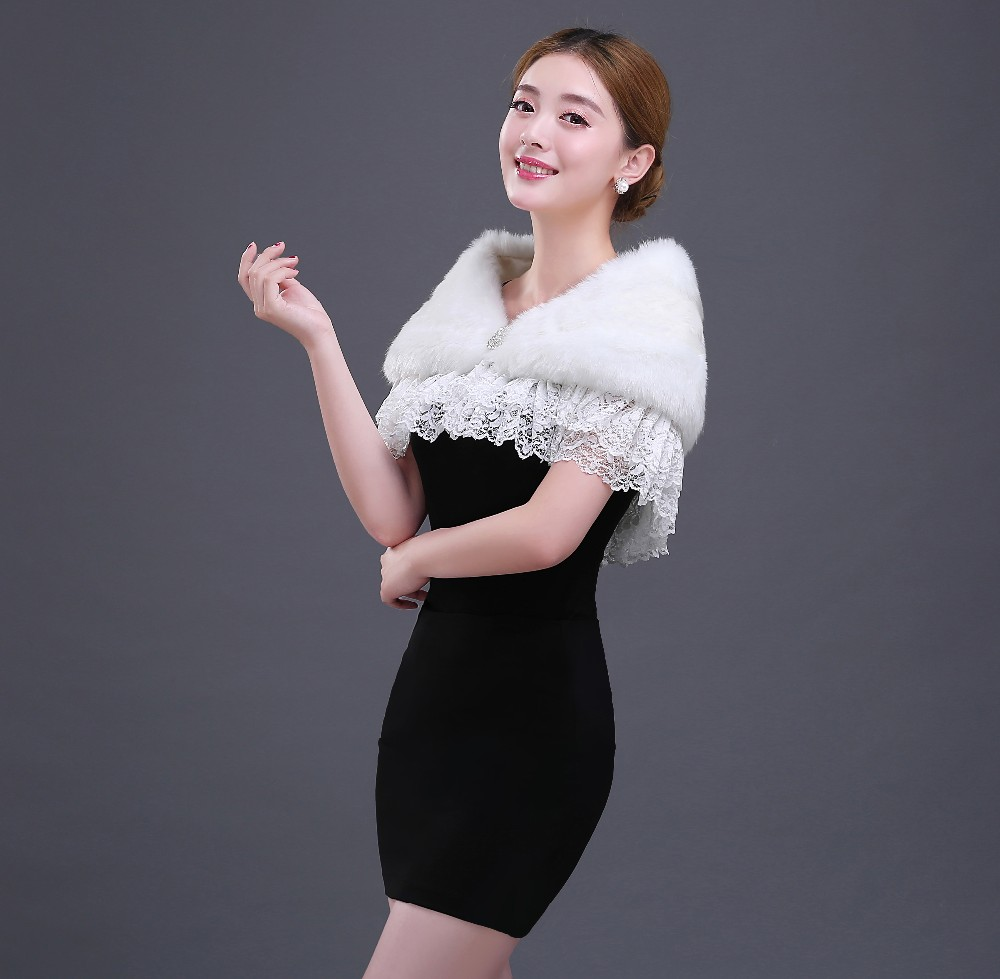 wedding accessories sleeveless fur bridal bolero