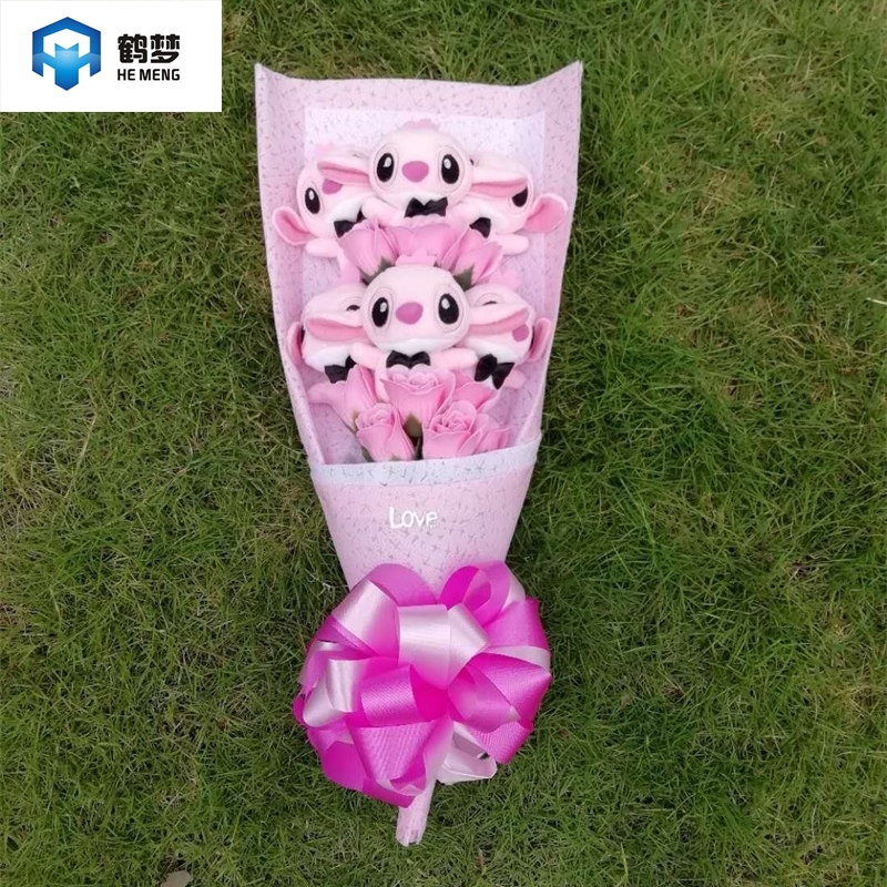 Artificial Lovely Cartoon Plush Toys Stitch Festivals Gift Bouquet With Fake Flowers For Valentine's Day Wedding Party Decora