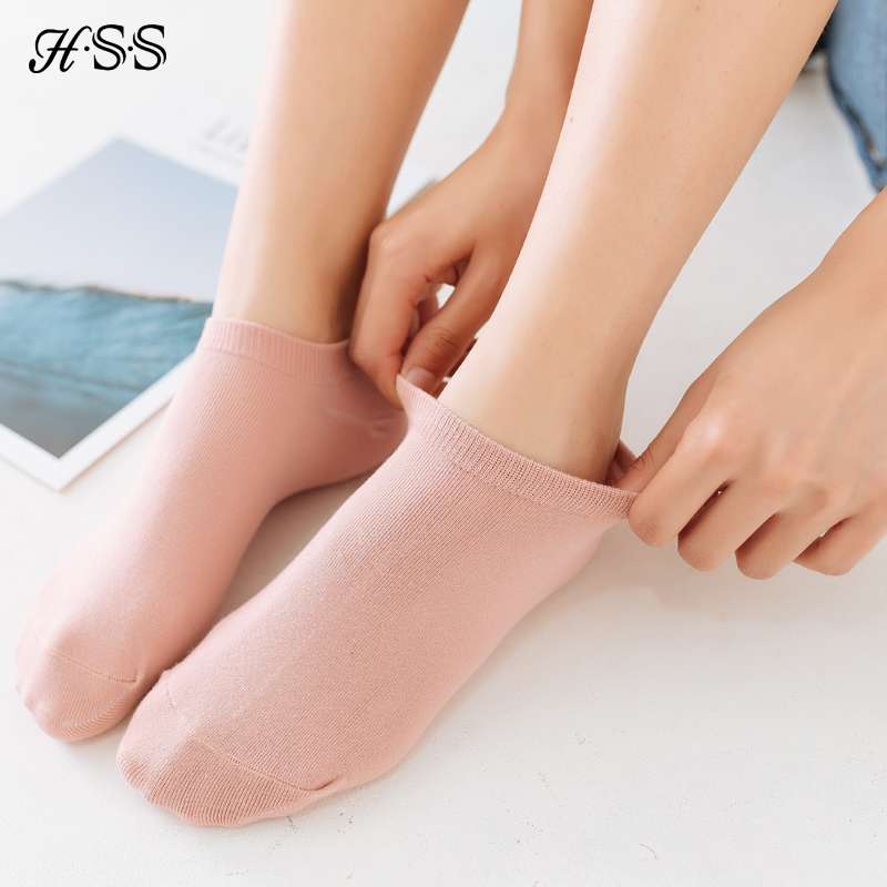 HSS Brand 10Pieces Women's Cotton Ankle Socks Candy Color Sweet Sock High Quality Quick Drying Sneaker Black Socks For Girl Lady