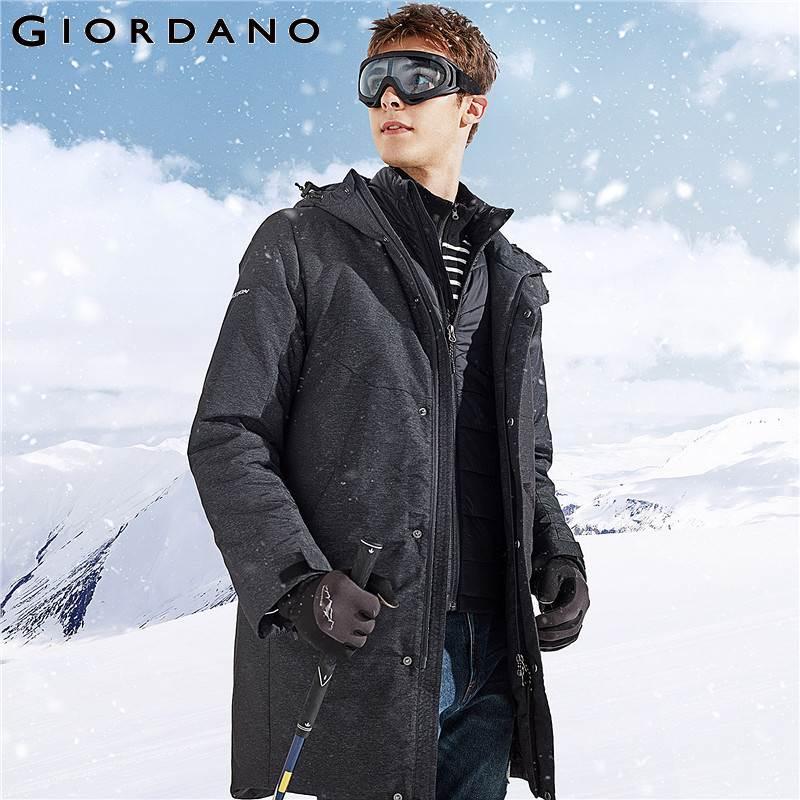 Giordano Homens Jaqueta Homens Impresso Patten Reflexivo 3-em-1 Capuz com Cordão Casaco de Inverno Homens Água-resistente destacável Jaqueta