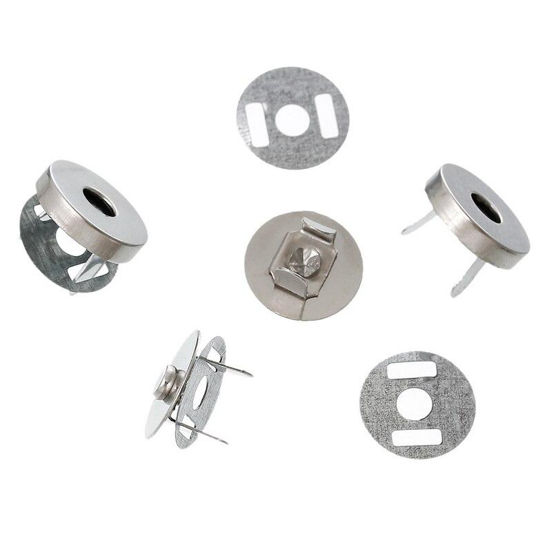 200 Sets Round Magnetic Purse Snap Clasps Closure 14mm Fermoir Silver Tone DIY Handbag Making